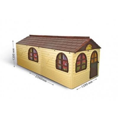 Детский домик со шторками коричневый 256х129х120 см 02550/22