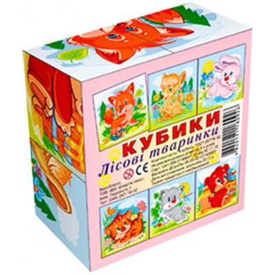 """Кубики """"Лесные животные"""" 4 кубика укр 4820121180926"""
