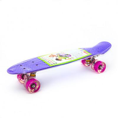 Пенниборд фиолетовый 56х15х12 см LED-ПУколеса алюминий МАКС.5353