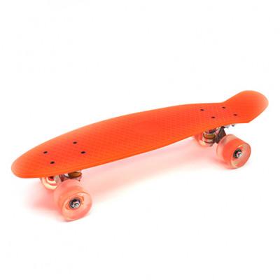 Пенниборд оранжевый 56х15х12 см LED-ПУколеса алюминий МАКС.5356