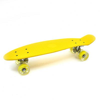 Пенниборд желтый 56х15х12 см LED-ПУколеса алюминий МАКС.5358