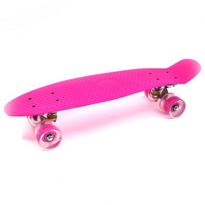 Пенниборд розовый 56х15х12 см LED-ПУколеса алюминий МАКС.5359